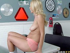 Charming slim blonde Natalia Starr is a naughty waitress with amazing natural boobs and beautifully trimmed pussy. She bares it all after giving head to Johnny Sins. He loves playing with her hot melons.