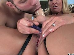 She makes him suck the strapon before she pegs his ass with it