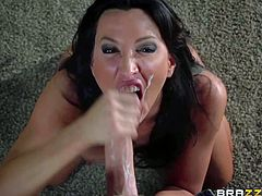 Black haired hot MILF Lezley Zen is a cum hungry woman that is good at giving tugjob. She strokes the sperm out of stiff cock from your point of view in this amazing video. Enjoy!