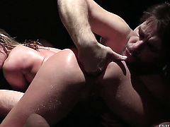 Manuel Ferrara pulls out his cock to fuck juicy Sheena Shaws anal hole after she gives throat job