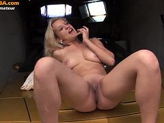 This silly blonde is from Europe and she is an amateur. She gets banged on the hood of a car and while bent over it. She seems to love cock very much and want it deep.