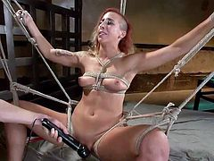 In the sex dungeon a lot of nasty and naughty things happen. This dirty whore has her legs open wide and she gets fucked really hard, like a slut. She is fingered deeply and has her pussy shocked with an electric prod. Will he make her cum with a vibrator?