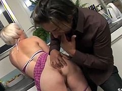 Sssh brings you a hell of a free porn video where you can see how this short haired blonde gets finger fucked in the kitchen while assuming very naughty positions.