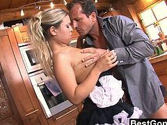 Cutie blonde Marketa is one of the horny waitress in the restaurant who is always seen servicing her boss by letting her teen pussy drilled anytime, anywhere.