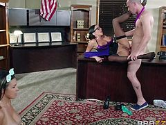 Dominating sexy MILF woman Ariella Ferrera spreads her legs and pulls her pink panties aside for Danica Dillons boyfriend. She gets her hairy twat licked and fucked in front of big boobed cutie.