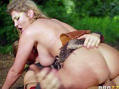 Sex starved amazon babe Lexi Lowe with long blond hair, big hooters and hairless pink pussy takes advantage of Ryan Ryder in the forest. She sucks and rides his fat dick to make her sex fantasies come true.