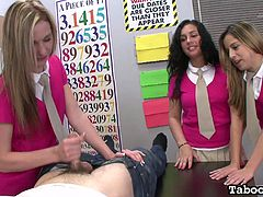 A hot blonde schoolgirl virgin seduces her male teacher, while her two young friends watch! In this video, YOU are the teacher, as the sexy and young naked girl gives you the handjob of your life, while her excited friends watch and get wet. You'll explode with pleasure at every stroke!