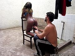 Ebony slut, Jasmine, has been craving for a white cock to fill in her lusty cunt. The bitch's ass looks so appetizing and her skin so perfect. The lucky tourist enjoys an incredible blowjob, followed by more hardcore activities. Watch the hot lady riding cock with passion.