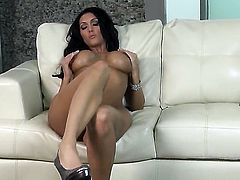 Dylan Ryder with gigantic jugs and bald bush is totally naked and plays with her wet hole non-stop