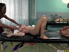 If you're into lesbians, watch a blonde babe's body explored with lusty desire by two hungry milfs. Busty Madison loves to play dirty with an ebony sexy slut, Marie. Kaylani integrates perfectly in the landscape, eating pussy or facesitting. Dare to click and see the exciting scenes! You'll be amazed!