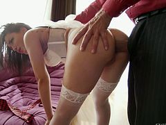 Gabriella can't wait to get screwed passionately, so she exposes her lovely buttocks, allowing the horny guy to fist her crazy ass. The slutty brunette has small tits and gets aroused quickly when they are squeezed. Watch the bitchy babe sucking cock on knees, before getting banged hard from behind!