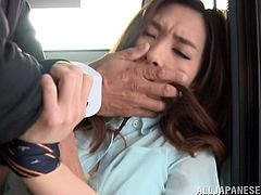 An Asian cuttie uses the public transport and has to give in to a horny hungry cock. The guy ties her hands with his neck tie, so she is helpless and must do as he tells her to. See her lovely tits and the guy's hand finding its way to her innocent cunt. The hottest part is when she sucks cock.