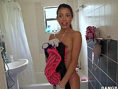 Petite sexy Veronica Rodriguez is another sexy cash hungry maid. Skinny girl shows her small perky boobs in the shower and then displays another parts of her lovely tight body in front of the camera.