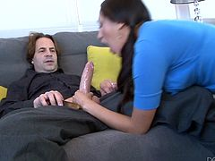 This naughty girl is chatting on the couch with her man and before long, they are both very horny. She pulls a big dick out of her man's pants. Vicki deepthroats his big cock and then, rides him nice and fast.