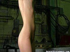 pigtail slave gets a whipping in the dungeon