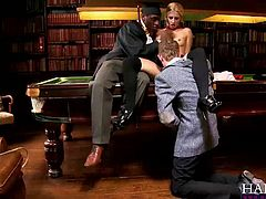 Gorgeous blonde Jessie Volt gets a thorough study session in double penetration with her well endowed teachers Omar and Danny D in the library.
