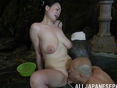A Japanese MILF gets her brains banged out at a pool