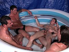 They are having fun in the water, kissing and rubbing each others muscular bodies. The sexy hunks love to get down and naughty in a good orgy. They suck cocks and swallow loads and loads on sperm. They love the taste.