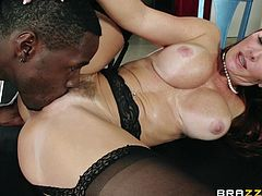 This white milf loves cooking breakfast for her young black hunk of a boyfriend, but they are so horny, that they can't control themselves. She gets bent over the kitchen table and gets fucked really hard. He eats her out, then she rides his big black cock.