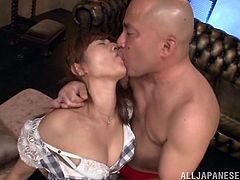 Slutty Rina has been blindfolded and doesn't know, who is the guy that so tenderly kisses her lips and ears, making her feel so aroused. The brown-haired bitch with small lovely tits is pleased by the nice surprise and totally gives in to the bald man, that helps her undress, and squeezes her breasts. Watch!