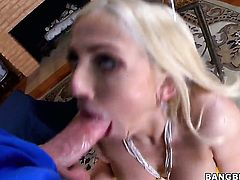 Passionate hussy Christie Stevens with big bottom gets face banged by dudes rock solid rod