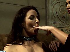 Brunette Mandy Bright with giant melons is on fire in girl-on-girl action with lovely Maria Bellucci