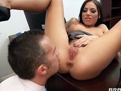 Office stud uses his big cock to fuck two beautiful women