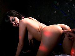 This naughty brunette loves to play with a hot stud's huge cock for a nasty blowjob and a hardcore doggystyle fuck in orgasm.