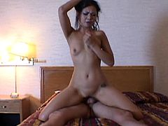 The hardcore scenes in the video show a beautiful Asian milf in sexy poses, while playing dirty with a horny cock. There's enough space in the bed for naughty games, like sucking dick or getting banged from behind. See the gorgeous attractive slut, taking the lead, as she begins riding cock like a tigress.