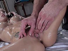 Naked wet busty girl Erica Fontes loves masseurs rock hard dick