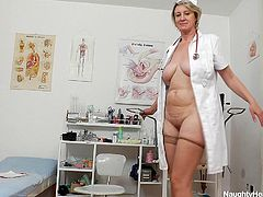 If there is anyone who knows how to make good use of a lunch break, it's Ester. She knows it's hard to find time at home to have sex, or even to please herself. That's why she lies on the hospital bed, with her legs wide apart and starts fucking herself with a dildo. But that comes later. She fingers and rubs her pink pussy real hard, before she reaches an orgasm.