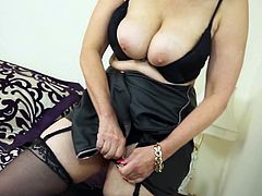 Angela can't wait for a guy, to satisfy her sexual needs. She is a smart woman and knows what she must do, when no man is around her. Watch her take off sexy lingerie and put her fingers inside her slippery cunt. She loves to grope her humongous boobs and take her fingers as deep inside her vagina, as she can. She knows a thing or two about fingering.