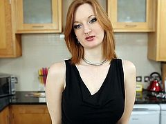 British slut Zara frigs herself in the kitchen