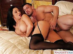 Johnny Castle bangs lustful Audrey Bitonis bush in every position