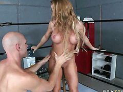 Johnny Sins cant wait any longer to shove his love stick in good looking Nikki Delanos mouth