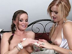 Silvia Saint gets unthinkable lesbian pleasure to Stacy Silver in girl-on-girl action