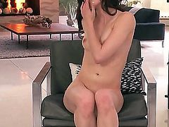 Jenna Ross sticks dildo in her tight pink hole