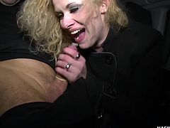 Anita Vixen sucks some stranger´s hard cock after flashing her tits on the street..