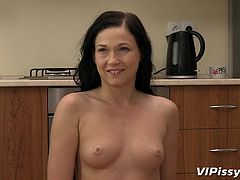brunette slut drinks urine