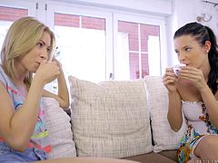 Morning has come and two sexy ladies drink their coffee, while chatting and relaxing on the couch. The brunette babe looks very hot, after just getting out from the shower, and lusty Camila shows her interest to kiss her passionately. Watch Elizabeth and her blonde lusty companion undressing.