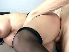 Diamond Foxxx is a hot bodied MILF with big breasts and bubble ass. She shows off her assets as she gets her fuck hole banged balls deep from behind by her horny boss at the office.