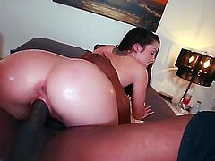 Sexy white girl Lola Foxx with natural tits and amazing big round butt is in the mood for interracial sex. She takes massively big black cock in her wet pink hole. She hot ass sexy is a big black cock addict!