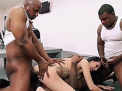 Skinny tattooed white woman Hailey Young is a horny MILF who loves it black. She gets her holes attacked by three beefy black cocks in interracial gangbang action. She loves getting double penetrated!