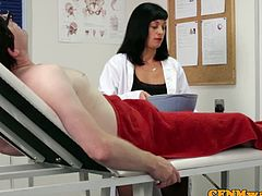 PureCFNM brings you a hell of a free porn video where you can see how the alluring brunette nurse Eden James gives great head while assuming very naughty positions.