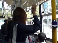 Upskirt Look Of An asian School Girl's thongs in Bus