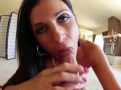 Black haired sexy MILF India Summer displays her small boobs as she gives deep throat job from your point of view. Is there anybody who does it better Shes a deepthroat pro!