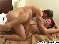 Checkout this horny amateur babe in this hardcore scene, where this lucky dude fucks her hard and feeds his cum to her mouth and again gets ready for drilling that yummy cunt for second cumshot.