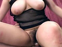 Japanese babe with voluptuous body and big titties got a hold of four guys been wanting to fuck her so bad and the outcome is great as they fill her mouths and her hairy twat with their lucky cocks.