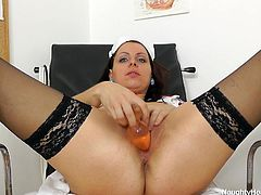 Carmelita works around the clock and mostly, has no time to please herself, that is why she has to masturbate in the hospital bed. Today she has taken some time out, just so she can use her new pussy pump. She uses it and watches her pussy size grow. But she does not stop there, she takes a vibrator and puts it into her hot big cunt, and cums.
