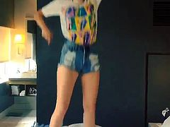 Miley Cyrus Dances and Twerks on a Bed